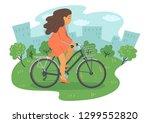 woman on bike. woman cycling in ...   Shutterstock .eps vector #1299552820