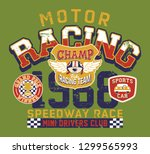 cute bear motor racing team... | Shutterstock .eps vector #1299565993