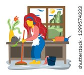 young woman cleaned the house... | Shutterstock .eps vector #1299574333