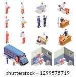 prison jail isometric elements... | Shutterstock .eps vector #1299575719