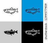 salmon fish icon. line style... | Shutterstock .eps vector #1299577909