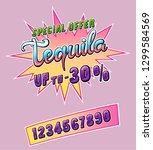 tequila promo sticker for cafe... | Shutterstock .eps vector #1299584569