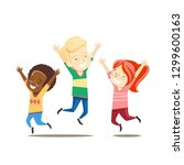 multiracial boys and girls jump ... | Shutterstock .eps vector #1299600163