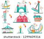 flat vector set of amusement... | Shutterstock .eps vector #1299609316
