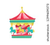 carnival carousel with horses.... | Shutterstock .eps vector #1299609373
