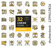 collection of linear icons  3d... | Shutterstock .eps vector #1299615826
