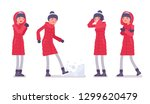 stylish woman in a long red... | Shutterstock .eps vector #1299620479
