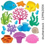 Coral reef theme collection 1 - vector illustration. - stock vector