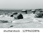 a wintry admission on the beach ... | Shutterstock . vector #1299632896