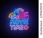 cinema neon sign  bright...   Shutterstock .eps vector #1299645070