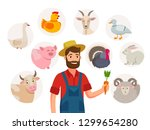 cheerful farmer and his... | Shutterstock .eps vector #1299654280
