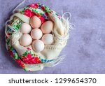 Chicken Eggs In A Nest Of...