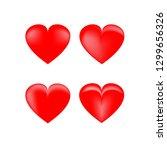 heart 3d set. red sign on white ... | Shutterstock .eps vector #1299656326