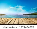wooden desk of free space and... | Shutterstock . vector #1299656776