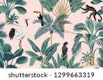 tropical vintage botanical wild ... | Shutterstock .eps vector #1299663319