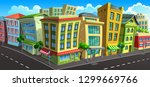 street of town with colored... | Shutterstock .eps vector #1299669766