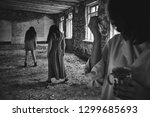 girls in old house. dilapidated ... | Shutterstock . vector #1299685693