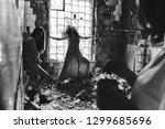 girls in old house. dilapidated ... | Shutterstock . vector #1299685696