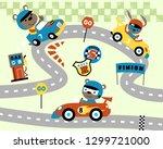 car race cartoon with funny... | Shutterstock .eps vector #1299721000