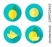 juicy lemon with slice. lemon...   Shutterstock . vector #1299722413