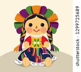 mexican traditional doll  maria ... | Shutterstock .eps vector #1299725689
