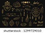 hand drawn boho gold dream... | Shutterstock .eps vector #1299729010