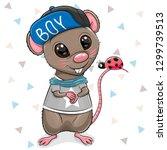 cute cartoon rat in cap on a...   Shutterstock .eps vector #1299739513