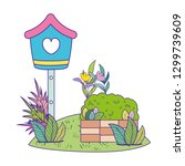 cute birdhouse wooden with... | Shutterstock .eps vector #1299739609