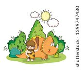 caveman with dinosaur in the... | Shutterstock .eps vector #1299747430