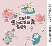cute sticker set of illustrated ... | Shutterstock . vector #1299748789
