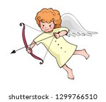 cute baby cupid in yellow dress ... | Shutterstock .eps vector #1299766510