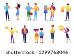 people of different generations ... | Shutterstock .eps vector #1299768046