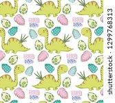 cute apatosaurus pattern... | Shutterstock .eps vector #1299768313