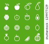 fruits and vegetables icons... | Shutterstock .eps vector #129977129