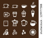 Coffee icons with Brown Background - stock vector