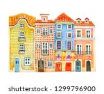 four watercolor old stone... | Shutterstock . vector #1299796900