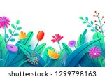 summer border with paper cut... | Shutterstock .eps vector #1299798163
