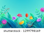 summer border with paper cut... | Shutterstock .eps vector #1299798169