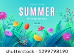 summer sale ad background with... | Shutterstock .eps vector #1299798190