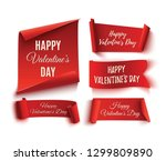 set of five red  happy... | Shutterstock . vector #1299809890