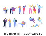 flat vector people set isolated ... | Shutterstock .eps vector #1299820156
