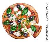 fresh vegetarian pizza with... | Shutterstock . vector #1299834970