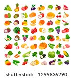 set of fruits and vegetables.... | Shutterstock .eps vector #1299836290