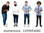 collage of group of young men... | Shutterstock . vector #1299854080