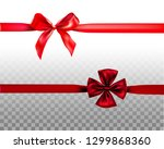 holiday red bow set for decor... | Shutterstock .eps vector #1299868360