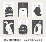 nursery animals set including... | Shutterstock .eps vector #1299871396