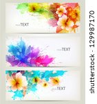 Stock vector set of flowers element and colorful blots design brochure template with floral elements 129987170
