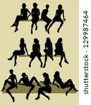 silhouettes of sitting women | Shutterstock .eps vector #129987464