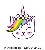 cute white kitten unicorn with... | Shutterstock .eps vector #1299892426
