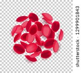 realistic falling red rose... | Shutterstock .eps vector #1299901843